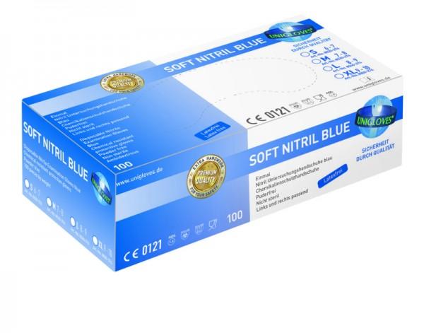 Unigloves Nitrilhandschuhe SOFT NITRIL BLUE | S-XL | 100 Stück/Box