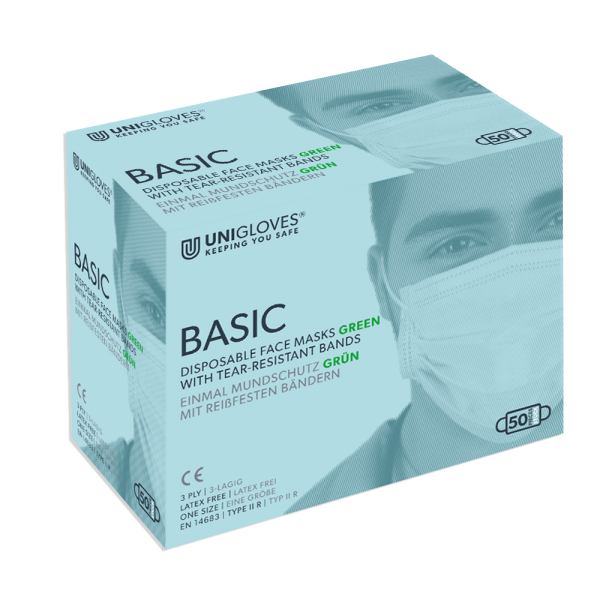 Medizinischer Mundschutz Basic | 3-lagig | Bänder | Grün | 50 Stück