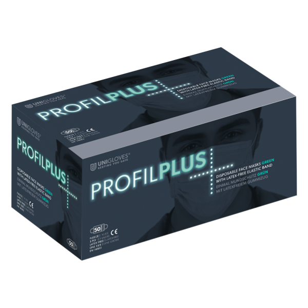 Unigloves Einweg Mundschutz Profil Plus | 3-lagig | Grün | 50 Stück