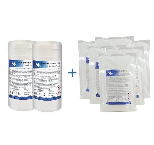 KK Desinfektionstücher | 2 befüllte Dosen + 6 Nachfüllbeutel im Set