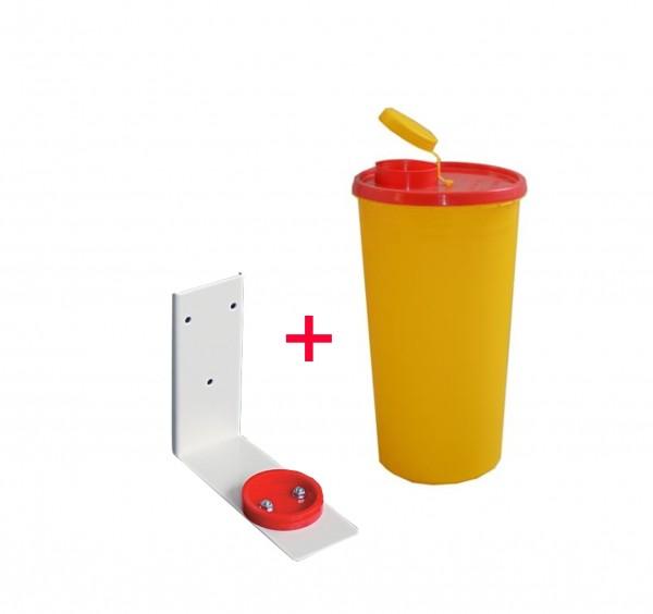 Kanülenabwurfbehälter 2,5 Ltr. inkl. Wandhalterung