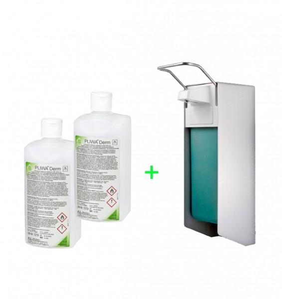 PLIWA® Derm Händedesinfektion 2 x 500 ml + Eurospender mit kurzem Arm im Set