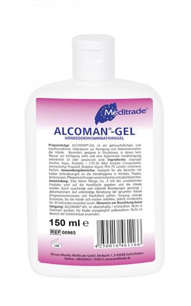 Meditrade ALCOMAN®-Gel Händedekontaminationsgel | 150 ml | Flasche