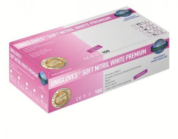 Unigloves Nitrilhandschuhe SOFT NITRIL WHITE Premium | XS-XL | 100 Stück/Box