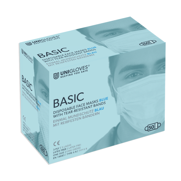 Medizinischer Mundschutz Basic | 3-lagig | Bänder | Blau | 50 Stück