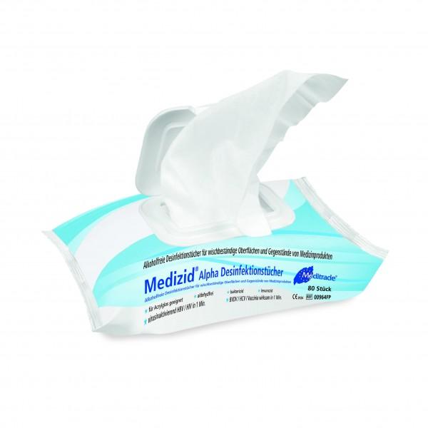 Meditrade Medizid® Alpha | Desinfektionstücher | 80 Tücher im Flowpack